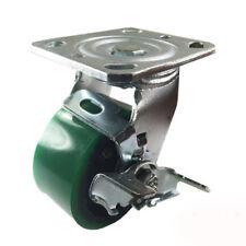 "4"" x 2""  Polyurethane on Cast Iron (Green) - Swivel with Brake"