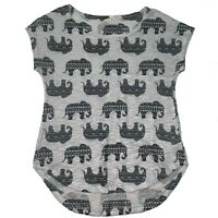 Antropologie Ginger G Top Short Sleeve Tee T Shirt Elephant Print Size L Large