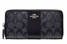 New In Package COACH F54630 Signature PVC Leather Accordion Wallet Smoke/Black