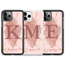 Personalised real glitter rose gold iPhone case 5/6/7/8/X/11/XR marble Samsung