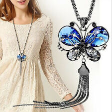 Comely Blue Crystal Jewelry Butterfly Necklace Long Chain Valentine's day Gifts