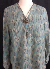 BIT & BRIDLE TUNIC shirt top FEATHER PRINT SIZE XL - A18