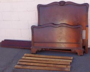 Beautiful Vintage Solid Wood Twin Size Bed Frame – BEAUTIFUL CARVED DETAILS -GDC