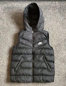Nike Gilet Body Warmer Kids Medium Black With White Logo Rare Active Sport