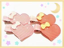 4x (2 pairs) Bulk Girls Hair Clip Baby/Kids/Toddler Heart shape