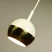 Pendel Leuchte Lamellen Kugel Hänge Lampe messing & weiß Vintage 70er Jahre