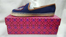 Tory Burch Shoes Navy Sea Multi Color Maritime Flat Espadrill Canvas Size 9.5