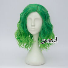 35CM Mixed Green Ombre Curly Women Lolita Heat Resistant Party Hair Cosplay Wig