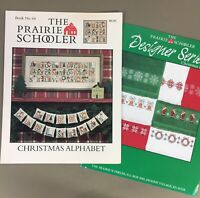 Lot of 2 Prairie Schooler Cross Stitch Charts Christmas Alphabet & Xmas Borders