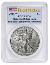 2020 W Burnished Silver Eagle Pcgs Sp70 - First Strike Label - Presale
