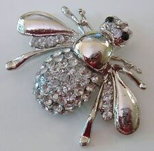 BIG PLUMP SILVER BUMBLEBEE HONEY BEE BROOCH SPARKLING RHINESTONES INSECT PIN