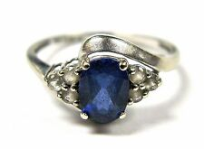 10k White Gold Genuine Blue and White Sapphire Solitaire Design Ring Size 6.5