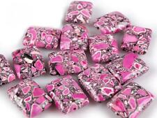 Pink Rectangle Stone Beads with hole 15x20mm 10pcs for Jewellery Making