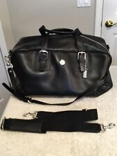 "COACH Black Leather Overnight Travel Duffel Bag. 20"" Long. NEW."
