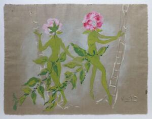 "Vtg MARCEL VERTES ""Climbing Roses"" POCHOIR PRINT by Martha Berrien Studio LTD ED"