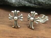 Lilien Kreuz 925 Sterling Silber Ohrstecker 2 Stück Ohrschmuck Fleur de Lys
