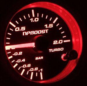 JDM 52mm Boost Gauge Turbo BAR Supercharger / turbocharger Backlight 7 color LED