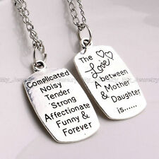 Inspiration Quotes Mother/Daughter Love Reversible Charm Pendant Necklace 18inch