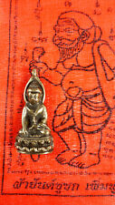BUDDHA AMULET BLESSED FOR WEALTH BY MONKS IN WAT BANG PHRA TEMPLE + TEMPLE CLOTH