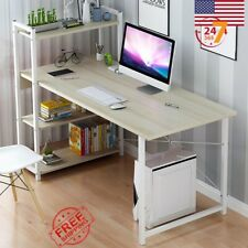 H Shape Desk Computer Table Home Office Furniture Workstation White L-Shaped NEW