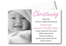 50 Personalised Girls Pink Christening Day Invitations Invites Ref C62