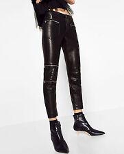 Zara size s/36 38 skinny motard pantalon Cuir Imitation Faux Leather Leggings trousers