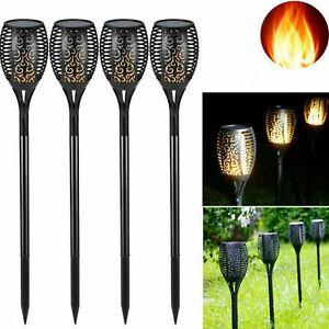 4 Pack Solar Torch Outdoor Garden Flame Dancing Lights LED Tiki Flickering Lamp