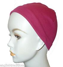 Fuchsia Chemo Cancer Hair Loss Hat Turban Sleep Cap Soft Cotton Scarf Liner