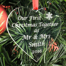 Personalised First Christmas Together Mr & Mrs Married Bauble Gift Present 1st