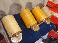 Rare! Matching Wall Lights for Rocket Lamps Brass, Teak Effect,Fibreglass Shades