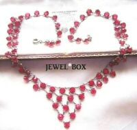 ANTIQUE ART DECO DRIPPY CRANBERRY PINK CRYSTAL OPEN BACK BEZEL COLLAR NECKLACE