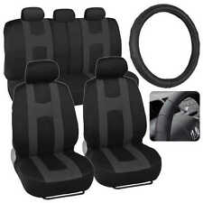 Charcoal / Black Rome Sport Car Seat Cover & Ergo Grip Steering Wheel Cover
