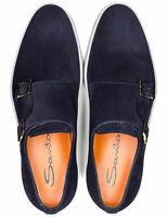 Santoni Doppelmonksneaker en Bleu Foncé En Suède RegEUR440