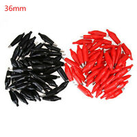 50 x Crocodile / Alligator Clips Connectors for Test Leads Red and Black 36mm OD
