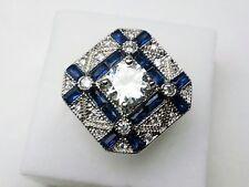 AD271 925 Silver Art Deco Vintage Blue White Sapphire 1.5 Carat Statement ring N