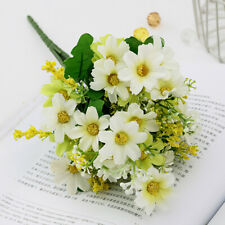 New Listing28 Heads Artificial Floral Fake Silk Daisy Flowers Bouquet Home Wedding Decors.