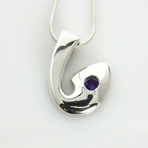Beautiful Modern Sterling Silver Purple Amethyst Pendant with Chain