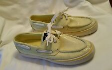 Womens Pale Yellow Sperry Topsider Boat Shoes with Sequins