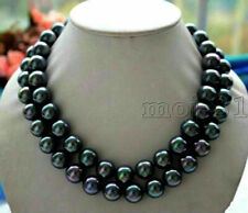 """White Gold 14mm Tahitian Peacock *Sea Shell Pearl'  36"""" Necklace - Velvet Pouch"""