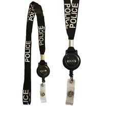Hi Quality Black Police Badge Reel lanyard Combo With double Breakaway