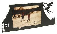 Skiing Cowboy 3x5H Black Metal Picture Frame
