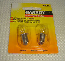 Pkg of 2 6V Garrity Krypton Flashlight Replacement Bulbs GK13