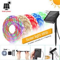 Solar Outdoor Garden Waterproof 3-5M 2835 RGB LED Strip Lights Tape String Light