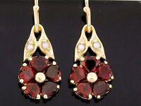 E086 Genuine 9ct Gold Natural Garnet & Pearl Blossom Earrings Dangle drop Heart
