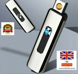 Electric Lighter Cigar Cigarette Rechargeable Flameless Windproof Slim With USB