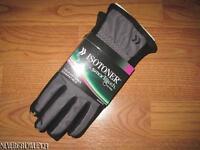 Isotoner  Women/'s Active Smartouch Black//Gray Heathered Softshell Glove w//Fleece