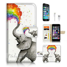 ( For iPhone 7 Plus ) Wallet Case Cover P3957 Elephant Rainbow