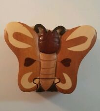 Carved Wood Folk Art Butterfly Secret Compartment Puzzle Jewelry/ Trinket Box