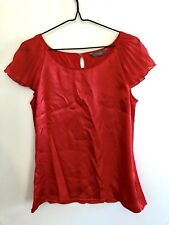 Jacqui E Women's Shiny Red Top Size S (8-10) Frill Sleeves