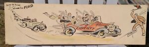 """Super Watercolor Drawing ca.1922 Liberty Car """"Race"""" Chicago Maybe Chic Young?"""
